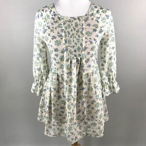 Free People Floral Smocked Empire Peplum Top 0